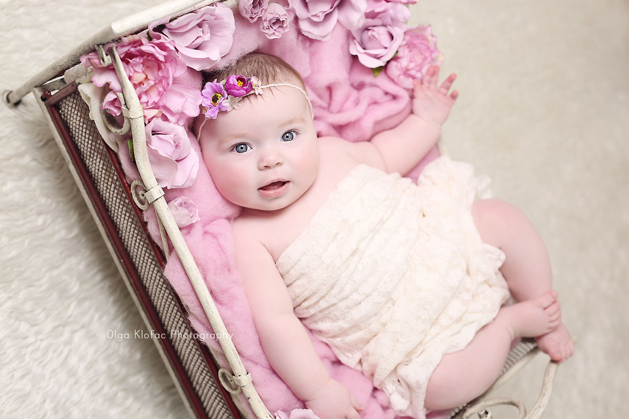 portrait of a beautiful 5-month-old baby girl lying in pink flowers