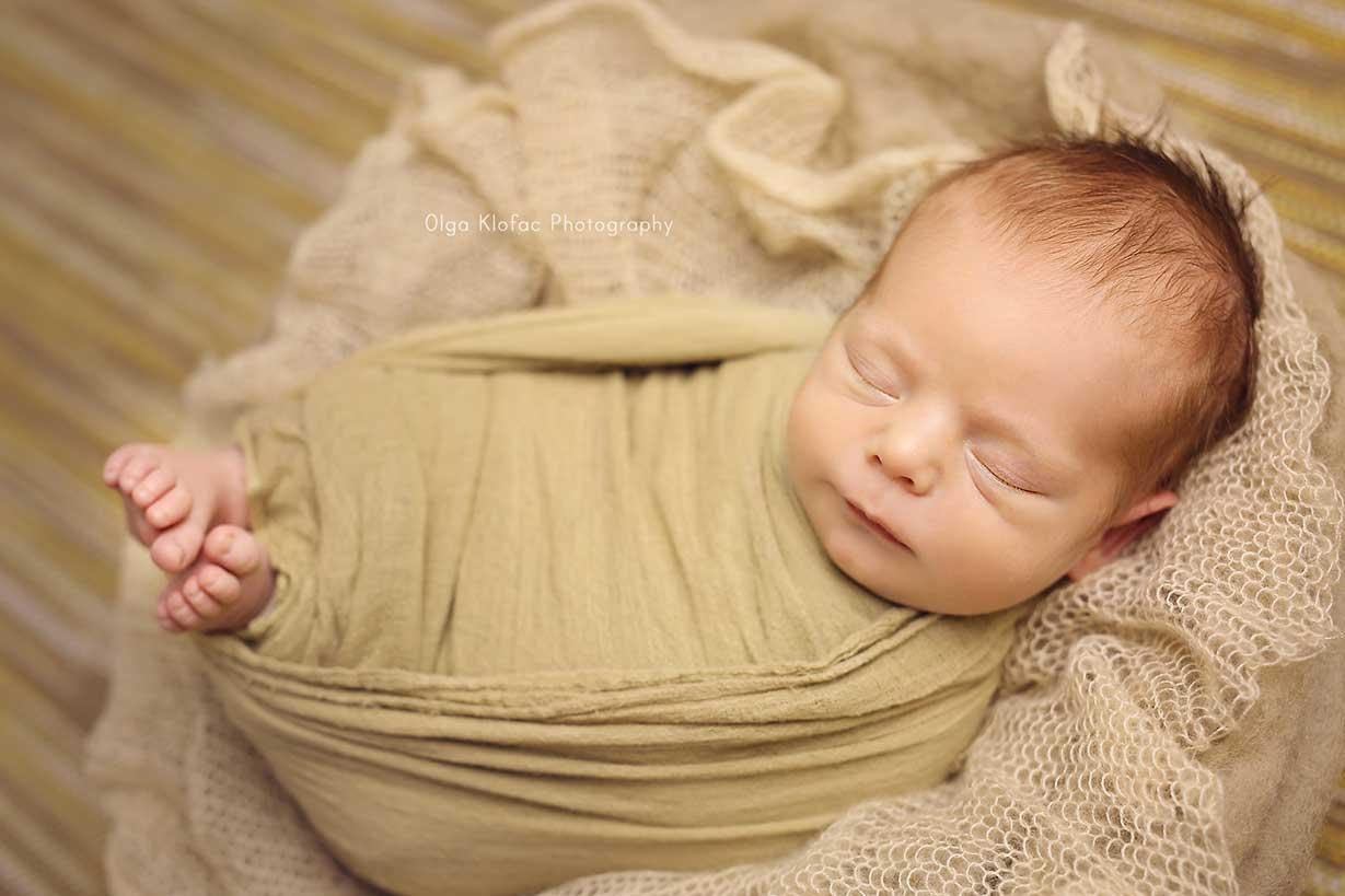portrait of newborn baby boy taken by Olga Klofac Photography Mayo